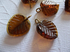 12 Smoke Topaz Brown Glass Leaf Charms Beads Leaves with Brass Loops 13mm X 12mm