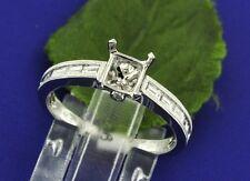 14k Solid White Gold 0.48 ct Ladies Semi Mount Diamond Ring millgrain  Baguette