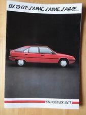 CITROEN BX 19 GT 1985 French Mkt sales brochure