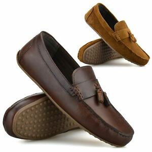 Mens New Leather Slip On Loafers Memory Foam Casual Driving Moccasin Shoes Size