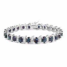 925 Silver 15ct Sapphire & Diamond Accent Bracelet
