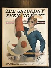 Saturday Evening Post Aug. 21, 1926 Female Sailor Cover Art by C. A. MacLellan