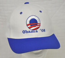 "OBAMA '08 White BLUE Baseball HAT Adjustable BARACK ""In It 2 Win It"" President"
