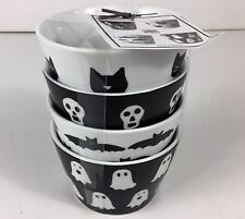 222 Fifth Halloween Ghosts and Ghouls Bowls Set of 4 New Black Cat Bat Skull HTF