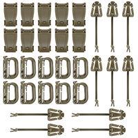 30 Pcs Brown Tactical Gear Clip Set Strap D-ring Grimloc Lock for Molle Bags