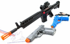 3x Toy Guns Military M-16 Toy Machine Gun Blue & Silver 9MM Toy Pistols