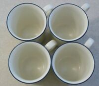 SET of  4   LENOX   Chinastone   BLUE  PINSTRIPES    Coffee   Mugs   Cups