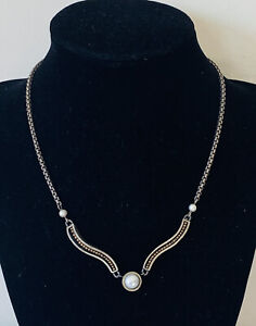 """Gorgeous Vintage Pearl inlaid Box Chain Sterling Silver 925 necklace 16"""""""