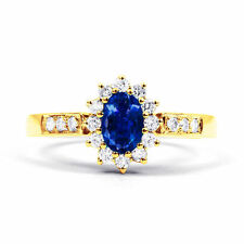 18 Carat Oval Sapphire Yellow Gold Fine Rings