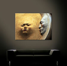 SONNE MOND Leinwand Bild Kunstdruck Abstrakt Bilder Gold Modern Wandbild Deko