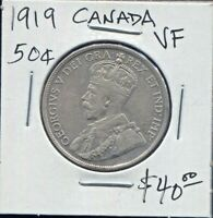 CANADA - BEAUTIFUL HISTORICAL GEORGE V SILVER 50 CENTS, 1919, KM# 25
