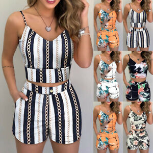 Womens Print Strappy Crop Top+Shorts Summer Holiday Co-ord Two Piece Set Outfits