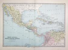 1883 - Large Antique Colour Map of WEST INDIES Mexico Central America  (PHA)