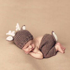 Newborn Baby Photography Props Crochet Knitted Deer Hat Diaper Outfits Set