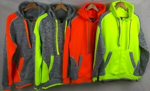 Hi Vis Brushed Fleece Full Zip Hoodie Safety Work Jumper Jacket, Panel W/Piping