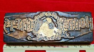 Antique Advertising Copper Printing Plate Wood Block Holiday Gifts Santa