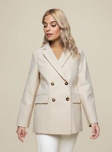 Dorothy Perkins Womens Petite Ivory Double Breasted Blazer Tailored Overcoat