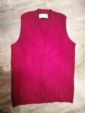 Vintage Lambswool Burgundy Knitted Sleeveless Sweater Vest Waistcoat UK 36 CHEST