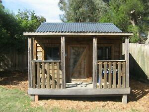 WOODEN CUBBY HOUSE - LARGE 3.5m x 2.7m x 2.25m + EXTRA TOYS