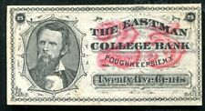 1880'S 25 CENTS THE EASTMAN COLLEGE BANK POUGHKEEPSIE, NY OBSOLETE AU