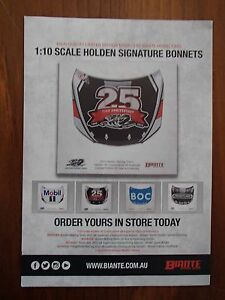 BROCHURE FOR BIANTE 1:10 HOLDEN SIGNATURE BONNETS HRT VF 25TH ANNIVERSARY AS NEW