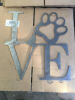 Metal Wall Art Decor Love Paw  Dog Puppy Love