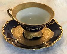 MENAU Germant cobalt & textured gold demitasse cup & saucer