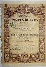 COMPAGNIE GÉNÉRALE DES OMNIBUS DE PARIS ACTION 500 FRANCS
