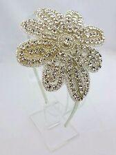 Bridal Headband Ivory Fabric Flower Rhinestones Fascinator Headpiece