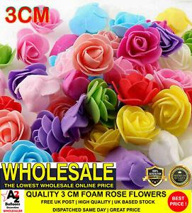 NICE 100 Mini Foam 3 cm Roses Wedding Craft Flower Party Decoration Many Colours