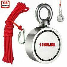 1100Lb Fishing Magnet Strong Neodymium Pull Force Treasure Hunt /10M Red Rope Us