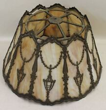 Miller 1315 Vintage caramello scorie di vetro 10 PANNELLO arte artigianato Vittoriano Lampada Da Tavolo