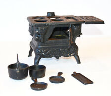 Cast Iron Antique Miniature Stove & Pots