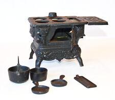 Cast Iron Antique Miniature Stove & Pots