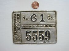 1924 PA Resident Hunting Aluminum Back Tag 1st. Year