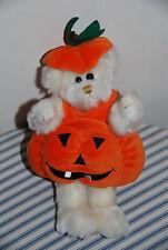 White Teddy Bear With Pumpkin Costume -- Autumn Halloween Decorations