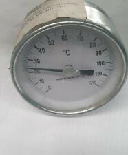 """27932 TERMOMETRO CORPO INOX ATTACCO POSTERIORE IN OTTONE 1//2/""""  0° 120° D 60 MM"""