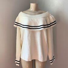 Fashion Nova Sweater Ivory Black-stripes Long Sleeve Off Shoulder,Ruffle Size 2X
