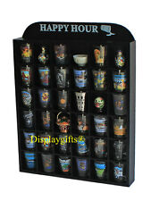 """Happy Hour"" Shot Glass Display Case Rack Wall Shelves Shadow box, No Door, MH37"
