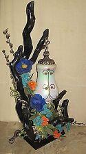 VINTAGE MIDCENTURY MODERN  RETRO ERA DRIFTWOOD & GLASS SHADE TABLE  LAMP