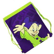SETTE NANI CUCCIOLO Sacca zaino coulisse tessuto verde e viola 42x33,5 cm