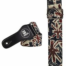Union Jack Flag Acoustic Electric Bass Guitar Strap Retro Vintage Worn Effect UK