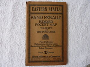 Rand McNally Eastern States Indexed Pocket Map - Tourist and Shippers Guide 1928
