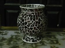 Mosaic Red Stained Glass Hurricane Candle Holder,