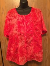 Liz & Me Blouse Womens Plus Size 1X Short Sleeve Pink Burn Out Sheer Top Button