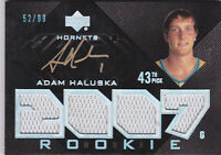 2007-08 UD Black #94 Adam Haluska RC Auto Jersey #/99