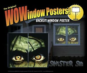 WOWindow Posters Sinister Sid Scary Eyes Halloween Window Poster Decoration