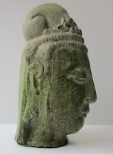 ANTIQUE VINTAGE BUDDHA HEAD KWAN YIN  GREEN STONE CARVING LIFE SIZE SCULPTURE