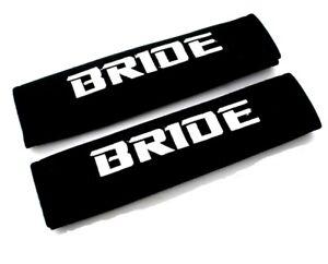 2PCS jdm BRIDE Racing Black Soft Cotton Embroidery Seat Belt Cover Shoulder Pads