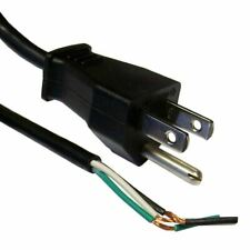 6ft 3-Prong Power Cord with Open Wiring, For Custom Wiring, Power Cord, AC